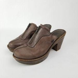 Born Zipper Clogs Mules Slides Leather
